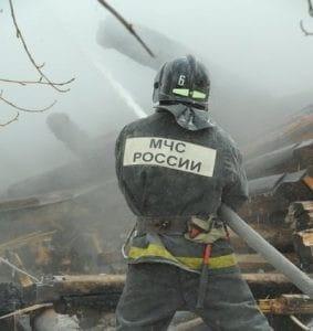Пожарно-спасательные подразделения МЧС России ликвидировали пожар на территории города Черняховска