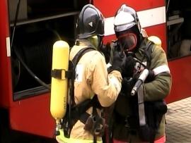 Пожарно-спасательные подразделения МЧС России ликвидировали пожар на территории Краснознаменского ГО
