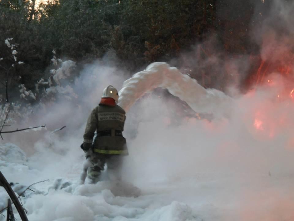 Пожарно-спасательные подразделения МЧС России ликвидировали пожар на территории Озёрского ГО