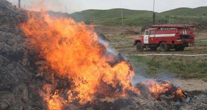 Пожарно-спасательное подразделение МЧС России ликвидировало пожар на территории Славского ГО
