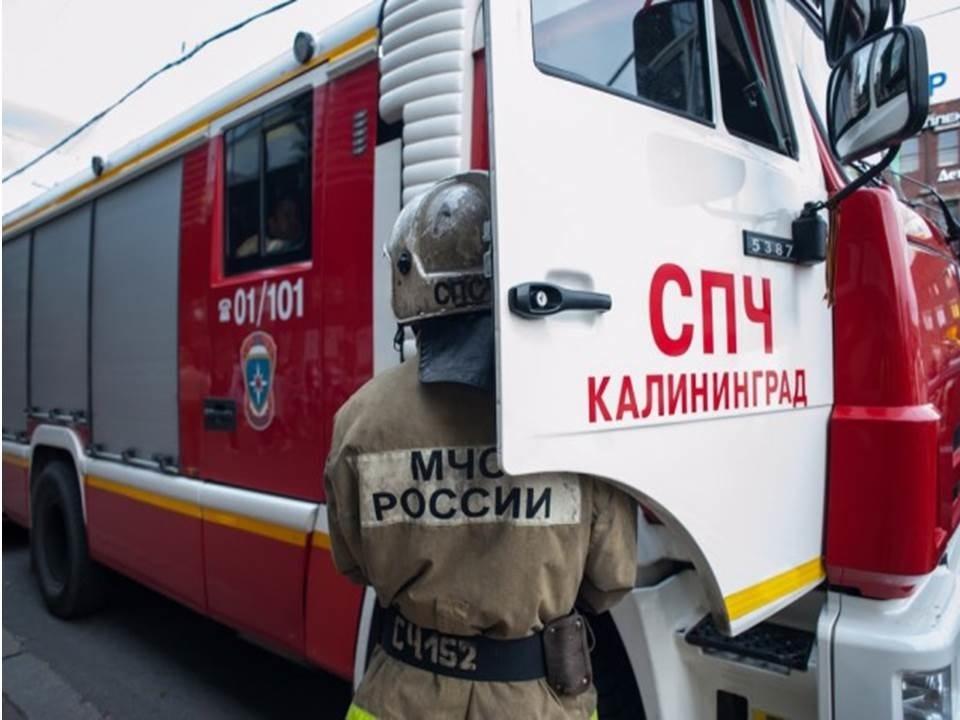 Пожарно-спасательные подразделения МЧС России ликвидировали пожар на территории города Калининграда